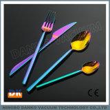 夕食テーブルウェアローズの金の黒カラーPVDコータ