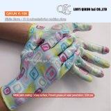 Безопасности нитрила хлопка полиэфира датчиков K-105 13 перчатки Nylon Coated работая