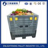 Caixa de pálete plástica de dobramento de China 1200*1000 grande com tampa