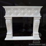 Lado entalhado estilo francês calcário lareira de mármore Mantel