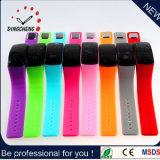 Relojes unisex del mudo LED del silicón simple, brazalete de la muñeca del espejo LED LCD del fabricante del reloj