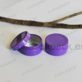 Kleine runde Aluminiumdose mit Beleg-Kappe (purpurrote Farbe)