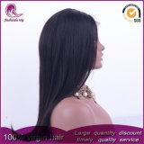De seda negro natural cabello virgen India recta peluca de encaje completo