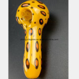 Pipe en verre de fumée de pipe de pipe jaune de léopard réutilisant la pipe de tabac