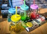 Fabrik-wundervolles freies leeres Glasglas mit Metallschutzkappe zum Speichergetränk/-wasser