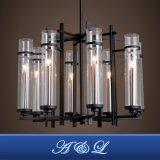 Lampada Pendant del lampadario a bracci artistico del tubo di vetro di disegno moderno per il salone