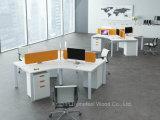 Tableau linéaire moderne de poste de travail de bureau de 4 Seater avec la partition d'écran (HF-YZLB06)