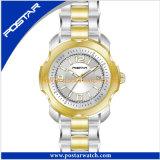 Montre d'or de l'acier inoxydable des femmes de montre de Suisse de qualité