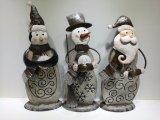 Comercio al por mayor de la madera y metal de muñeco de nieve de Navidad decoración de la mesa