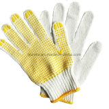 Безопасности ПВХ точек с естественный белый трикотажные хлопок рукой перчатки