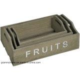 Conjunto de 3 bandeja de frutas vegetais de madeira rústica engradados, Cozinha Pegas Retro de armazenamento
