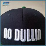 習慣3D Embrodieryのロゴの急な回復の帽子の平らな縁の急な回復の帽子