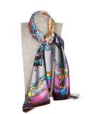 As mulheres de moda de luxo de seda pura seda elegante Cachecol Flaral Lenço Senhora coloridos