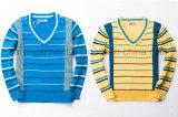 Maglione costolato a strisce delle lane dei bambini del V-Collo