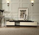 Stand télécommandé en métal TV avec le tiroir en bois de laque blanche