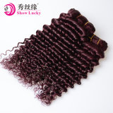 等級9Aの自然な赤いカラー緩い波のバージンのモンゴルの人間の毛髪
