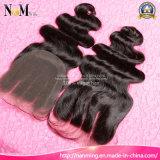 Do cabelo malaio peruano brasileiro do cabelo do cabelo do cabelo da beleza da rainha fechamento indiano da parte superior do laço do cabelo humano do Virgin