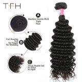 최상 9A 브라질 Virgin 머리 직물 도매 100% 사람의 모발 연장 깊은 파 머리 씨실 (TFH18)