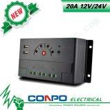 20A, 12V/24V, USB, LED 의 PWM 태양 관제사