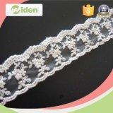 Tecido de renda de nylon bordado bordado de flor bordado de pedras