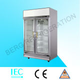 Supermarket Upright Fabricante 2 Glass Door Showcase Refrigerator