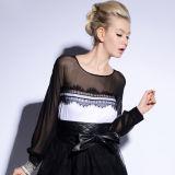 Mulheres preto e branco de Manga Longa Chiffon pura Lace blusa