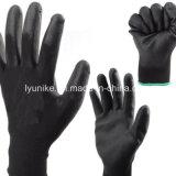 Черный полиэстер гильзы с черным покрытием PU защитные перчатки