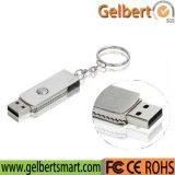 Memoria Flash inoxidable del USB del eslabón giratorio del metal con el encadenamiento dominante