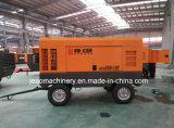 Acoplado de la compresión de la sola etapa/compresor de aire diesel montado patín de la barra del Portable 13 para la explotación minera