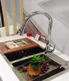Robinet d'évier de cuisine vertical avec poignée unique