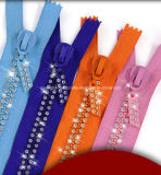 Fermeture à glissière imperméable en cristal à haute qualité de Bling