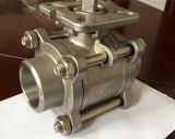 3-Pic válvula de bola con el montaje del cojín de actuador