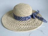 Ventilación de la moda playa sombrero de paja de tejido a mano