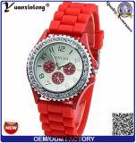 I fiori di Ginevra delle più nuove donne Yxl-903 hanno stampato la vigilanza Analog dell'orologio del quarzo della fascia bianca del silicone per il regalo