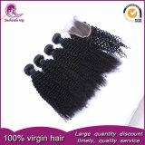 Rizado rizado cabello brasileño trama virgen sin procesar tejer cabello humano.