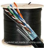 Cat5e, 350 MHz, blindado, Chaqueta UV, al aire libre, Messenger, 1000FT, Negro, el volumen de cables Ethernet LAN, carrete de madera