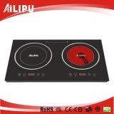 Dubbele Brander met Metaal die het Ingebouwde Kooktoestel van de Inductie Cooker+Infrared van de Stijl/Dubbele Cooktop huisvesten