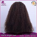 Rizado de color marrón de Afro el cabello virgen Brasileña de encaje frontal peluca