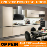 Oppein Modern Gray Beige Melamine Wood Kitchen Furniture (OP14-075)