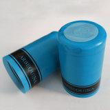 Capsules argentées de rétrécissement de PVC de noir de bouteille en verre de vin de couleur