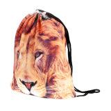sac de sac à dos de gymnastique d'école de type de cordon d'impression d'animaux de galaxie de 3D Digitals