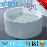 Forma redonda con grifo de acrílico blanco Jacuzzi bañera (BT-421)
