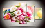حارّ 5 لوح [هد] زهرات حديثة يدهن توليب زهرات بيتيّ زخرفة نوع خيش صورة زيتيّة جدار [أرت دك] يشكّل فنية