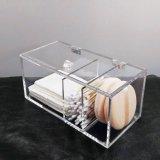 Caixa de armazenamento acrílica desobstruída Handcrafted nova da esponja da composição do botão do algodão do suporte da almofada de algodão
