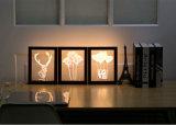 der Illusion-3D Holzrahmen-Rotwild-Kopf LED Nachtdes licht-LED/Blumen-/Inner-Tisch-Lampe für Schlafzimmer-Ausgangsdekor-Beleuchtung RGB-veränderbares Farben-Kind-Geburtstag-Weihnachtsgeschenk