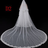卸売長いレースによってテュルのアップリケをつけられる柔らかい花嫁のベール3.5メートルの