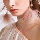 Costume Mode plume en peluche rose mignon Bijoux Plumes Earring