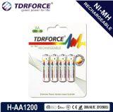 (AA/HR6) longue batterie de durée de vie du nickel 1200mAh d'hydrure rechargeable en métal avec Ios9001 pour le microphone