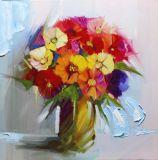 Pintura al óleo hecha a mano de la lona de la flor de la belleza del 100%