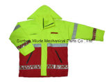 Upa021полиэстер Оксфорд ПВХ/PU Non-Breathable/PU Дышащий слой светоотражающей ткани Parka трость Worksuit